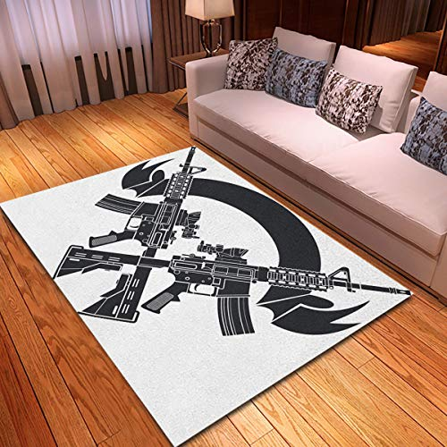 rouihot Non-Slip Area Rug 4'x 6′ Ar15 Crossed Assault Rifles Over Gun Carbine Shield Tactical Rugs Carpet for Classroom…
