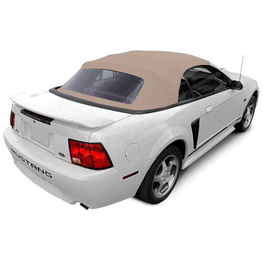 Ford Mustang 1994-2004 Convertible Soft Top & Plastic window Black Sailcloth (1 piece easy install) AutoBerry
