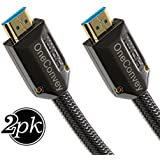 OneConvey 4K HDMI Cable 3 Feet 2 Pack -Ultra High Speed 18Gbps Support Ethernet/ARC 28AWG OD8.6mm Video 4K UHD 2160 HD 1080P 3D Xbox PS PS3 PS4 Apple 4K TV Gold Plated Copper Connectors