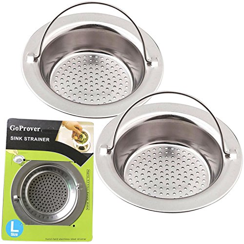 GoProver 2PCS Kitchen Sink Drain Strainer Heavy Duty 304 Stainless Steel, Large Wide Rim 4.3 Diameter Durable Strainer Basket