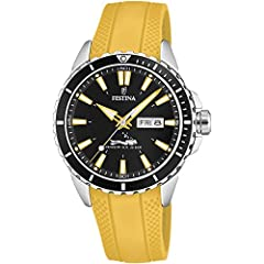 It has a calendar of the day of the month and the day of the week at 3 o'clock. Submersible watch 200 meters deep. 2 years warranty.