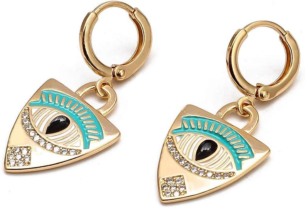 Lucky Eye Turco Mal Ojo Gota Pendientes Oro Color Cobre Micro Pave Pequeño Dangle Pendientes para Mujeres Niñas Joyería de Moda