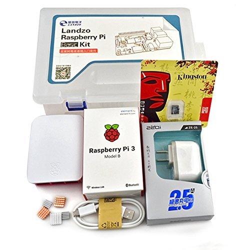 LANDZO Raspberry Pi 3 Model B kit(pi 3 board+case+power plug+memory card+heat sink)