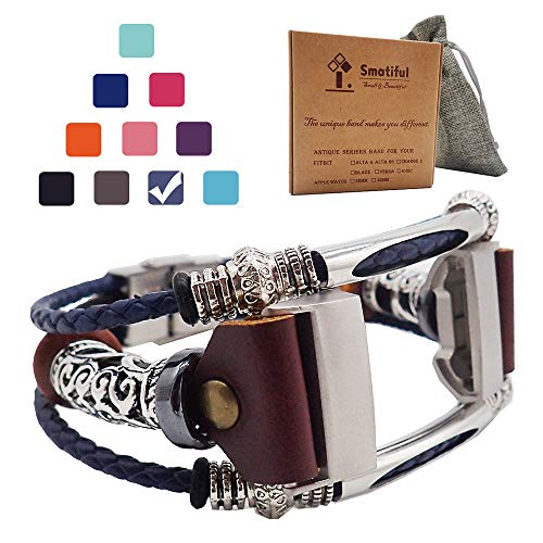 Smatiful Charge 3 Bands Plus Box for Mens, Adjustable Replacement Leather Jewelry Band for Fitbits Charge 3 HR Pedometer, Special Edition, Grey Navy Dark Blue