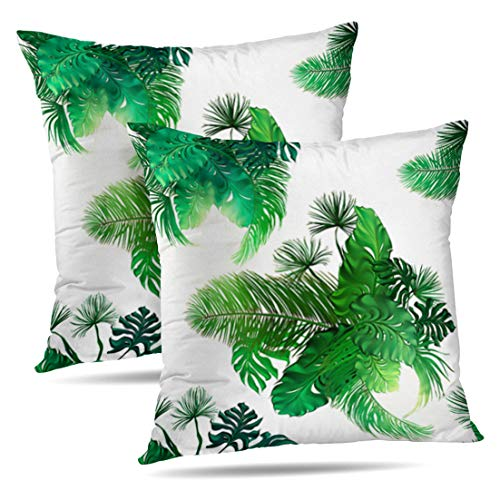 HAPPYOME Set of 2 Decorative Throw Pillow Covers Tropical Palm Leaves Collection White Decorative Modern Botanical VacationPillow Case Cushion Cover for Bedroom Livingroom Sofa 18X18 Inches