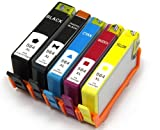 Inkjetcorner 5 Pack Remanufactured Ink Cartridge Replacement for HP 564XL for PhotoSmart 7510 7520 Shows Accurate Ink Levels, Office Central