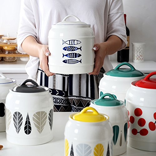 GreenSun(TM) Creative Kitchen ceramic large capacity storage bottle sealed cans of milk tea snacks grain tank coffee sugar suit