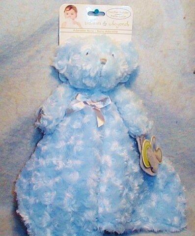 Blankets and Beyond Blue Rosette Bear Nunu Baby Security Blanket