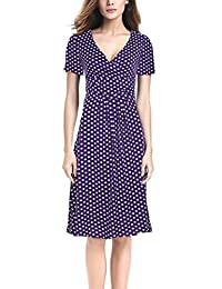 GlorySunshine Women's V-neck Short Sleeve High Waist Ruched Polka Dots Dress