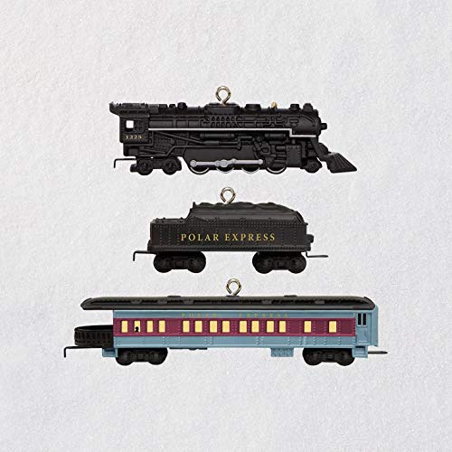 Hallmark Keepsake Mini Christmas Ornament 2018 Year Dated, Lionel The Polar Express Miniature, Set of 3, Train