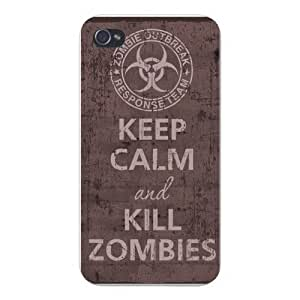 Apple Iphone Custom Case 4 4s White Plastic Snap on - Keep Calm and Kill Zombies Outbreak Response Team