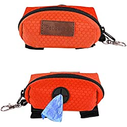 PetBemo Dog Poop Bag Waste Bag Dispenser Premium Quality Dog Poop Dispenser with YKK Zipper for Walking, Running or Hiking Accessory Orange