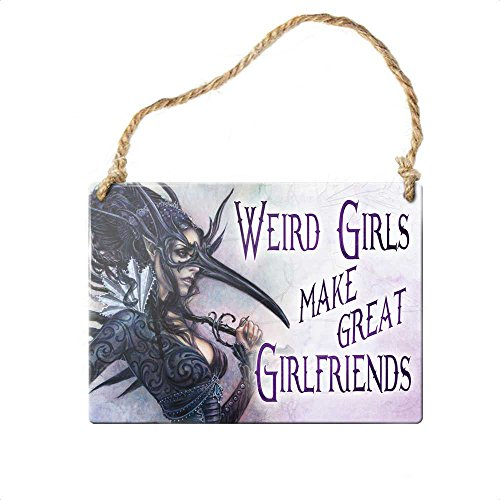 Halloween Party Decorations Gothic Victorian Small Hanging Sign Weird Girls Make Great Girlfriends Raven Mask