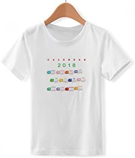 DIYthinker Jungen 218 Umbau Art Kalender Muster Rundhalsausschnitt Weißes T-Shirt DIYlab