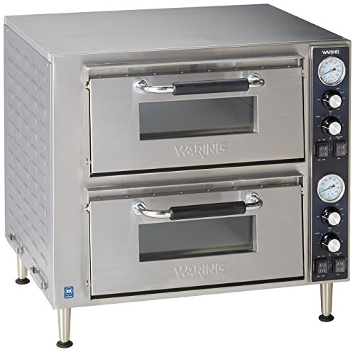 (Waring Commercial WPO750 Double Deck Pizza Oven with Dual Door, Silver)