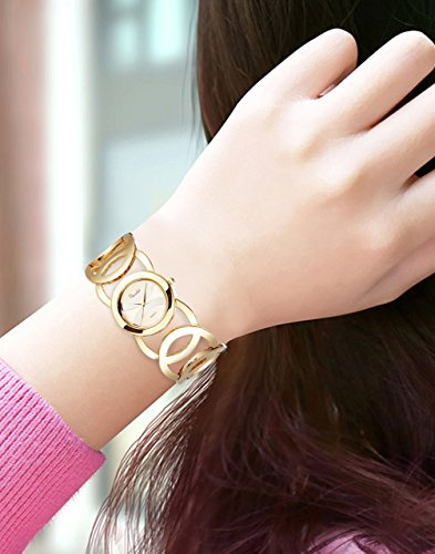 Novadab Immortal Love Accent Loop Bracelet Watch, Wrist Watches for Ladies (Gold) by NOVADAB (Image #3)