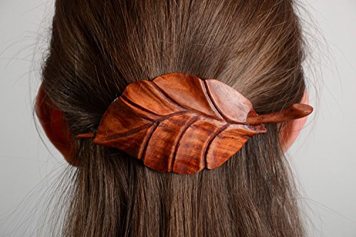 Handmade Carved Wooden Hair Clip in the Shape of Leaf Coated with Eco Varnish Best Gift Ideas for Women