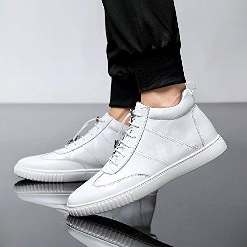 Lace Sneakers Leather Men's Deco Insun White Laces up Boot Chukka Metal fOxqw5