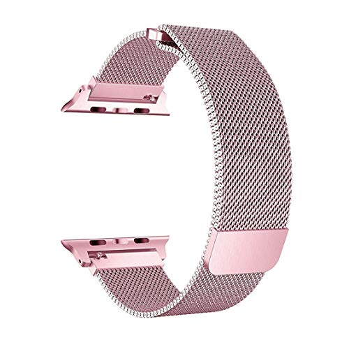 SICCIDEN Milanese Mesh Loop Watch Band 42mm 44mm with Adjustable Magnetic Closure Clasp Stainless Steel Replacement Band Compatible with Watch Series 4 Series 3 Series 2 Series 1, Pink