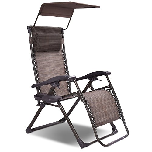 Goplus Folding Zero Gravity Chair Lounge Patio Outdoor Yard Pool Recliner w/Sunshade Canopy & Tray (1) by Goplus