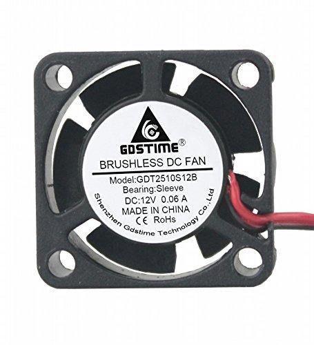 GDSTIME 25mm X 25mm X 10mm 2.5cm Small 12v Brushless Dc Mini Cooling Fan