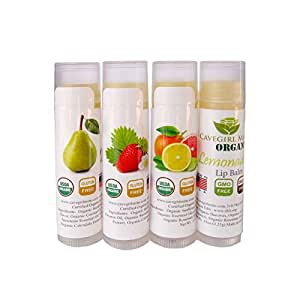 4-Pack Certified USDA Organic Lip Balm. CAVEGIRL MINE 100% Organic All Natural Flavors Pear, Strawberry, Lemonade and Citrus. Made in USA. Paraben Free. Deeply Moisturizes Softens Chapped Dry Lips.