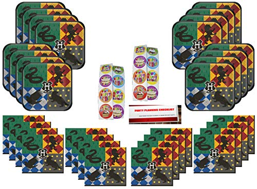 Harry Potter Gryffindor Birthday Party Supplies Bundle Pack Serves 16 Plus 16 Stickers and Party Planning Checklist by Mikes Super Store