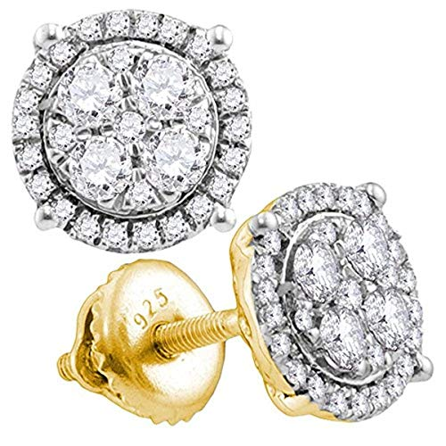 (Roy Rose Jewelry 10K Yellow Gold Womens Round Diamond Circle Cluster Earrings 1/2-Carat tw)