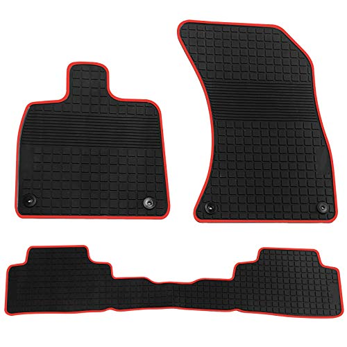 - biosp Car Floor Mats for Audi Q5 2017 2018 2019 Front And Rear Heavy Duty Rubber Liner Set Black Red Vehicle Carpet Custom Fit-All Weather Guard Odorless