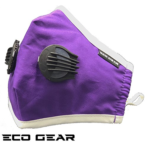 ECO-GEAR Anti Pollution Face Mask N95 Particulate Respirator | Dust, Smoke, Exhaust Gas, Fumes and Allergens Protection | Adjustable Size Washable Face Mask with 3 Replaceable Air Filters (Purple) by ECO-GEAR