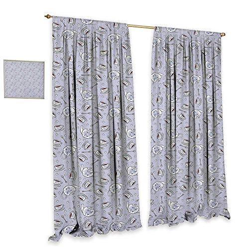 (homefeel Tea Party Blackout Window Curtain Cups and Pot of Grand English Tradition Sugar Cubes and Little Spoons Patterned Drape for Glass Door W120 x L96 Lilac Silver Navy)