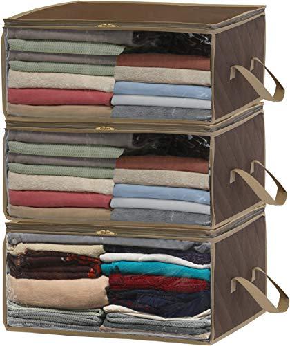 Simple Houseware 3 Pack Foldable Closet Organizer Clothing Storage Box with Clear Window, Brown