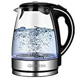 royal kettle - Electric Kettle-Water Kettle Tea Kettle, 1.7L(3.8 pint) 1500W, Glass Electric Kettle Fast Heating, Borosilicate Glass Teakettle with Food Grade Material, Boil Dry Protection & Automatic Shutoff