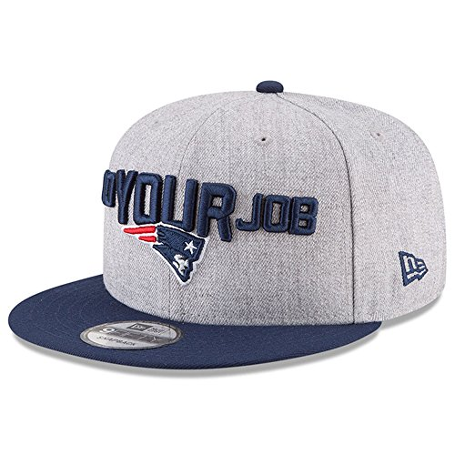 Official Cap Draft (New Era Authentic New England Patriots Heather Gray/Navy 2018 NFL Draft Official On-Stage 9FIFTY Snapback Adjustable Hat)