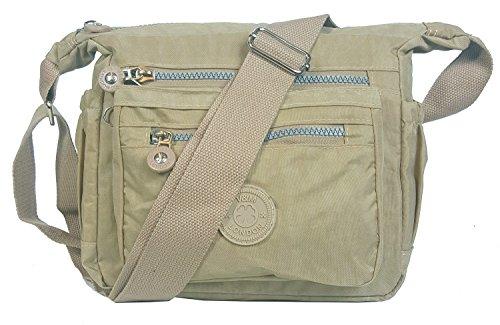 GFM Womens Multi Zip Pockets Nylon Lightweight Cross Body Bag Shoulder Bag Messenger Bag S5 - Khaki (05-kh)