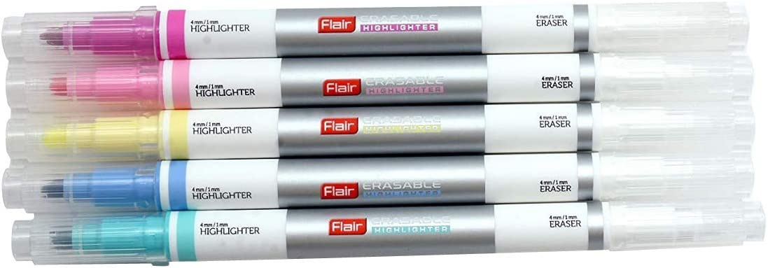 5 x FLAIR Erasable Tip Highlighter Pens Chisel Tip Bright Colours 1mm-4mm Line
