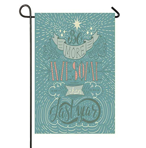 Icons Seasonal - HOOSUNFlagrbfa New Year Resolutions Be More Awesome Than Last Year Lettering with Doodled Icons Seasonal Garden Flags Bright and Shine Small Holiday Yard Flags