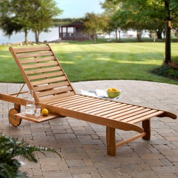 Beautiful Solid Wood Water Resistant Sturdy Durable Comfortable Acacia Constructed Rolling Chaise Lounge Chair Recliner- Perfect Pool Deck Patio With Pull Out Dual Accessory Trays- Absolutely Lovely Hardwood Chaise Lounge