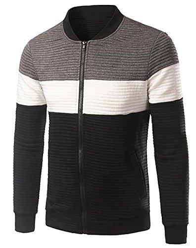 Beloved Mens Autumn Long-Sleeved Striped Cotton Casual Zipper Slim Fit Coat Grey L (Michael Jordan Michael Jackson)