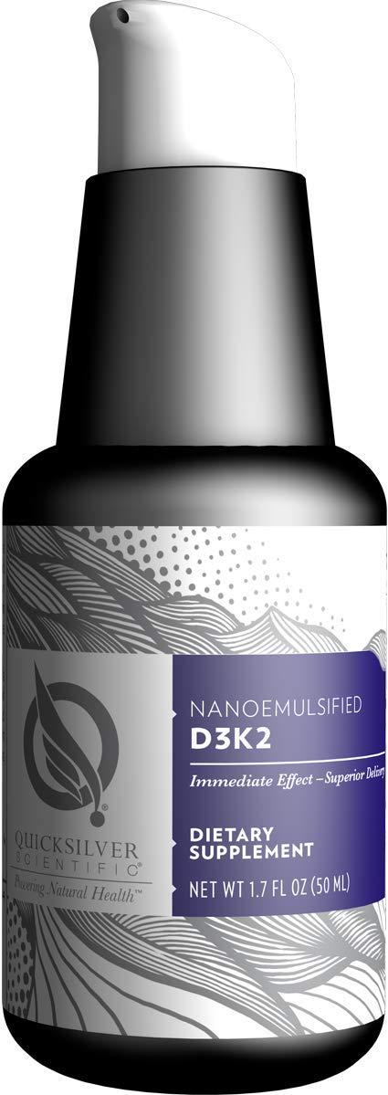 Quicksilver Scientific Nanoemulsified D3K2 - Highly Bioactive 2500IU Vitamin D3 + Vitamin K2 MK7 Liposomal Liquid Supplement Formula for Immune, Heart, Bone + Mood Support (1.7 Ounces, 50 Milliliters) by Quicksilver Scientific