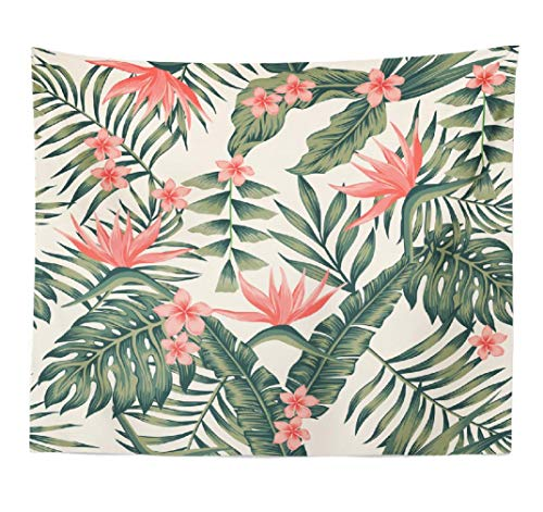 - ASOCO Banana-Palm Tapestry, Tapestry Wall Hanging Beach Cheerful Wallpaper Tropical Dark Green Leaves Palm Wall Tapestry for Bedroom Living Room Tablecloth Dorm 80