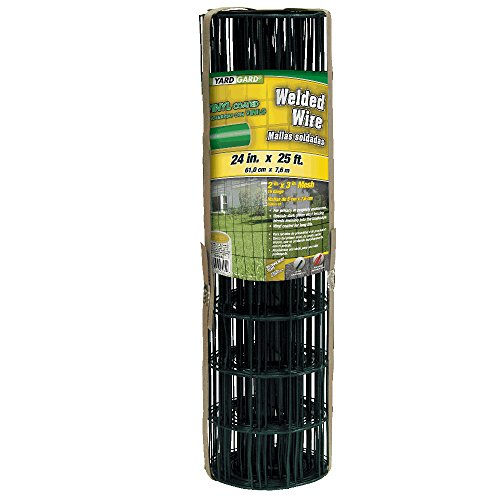 YARDGARD 308350B 2 Inch by 3 Inch Mesh, 2 ft by 25 ft 16 Gauge Junior Roll of PVC Coated Welded Wire Fence(Dark Green) ()