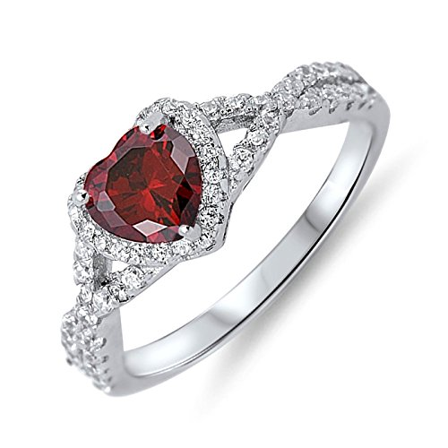 Simulated Birthstone Cubic Zirconia Halo Infinity Womens Girls Sterling Silver Ring Sizes 4-12