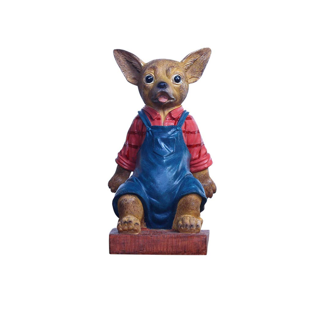 ZPWSNH Chihuahua Door Stop Door Resistance Anti-Collision Free Punching Floor Decoration Creative Cartoon Resin Crafts Book File Book by 14x22cm Bookshelf