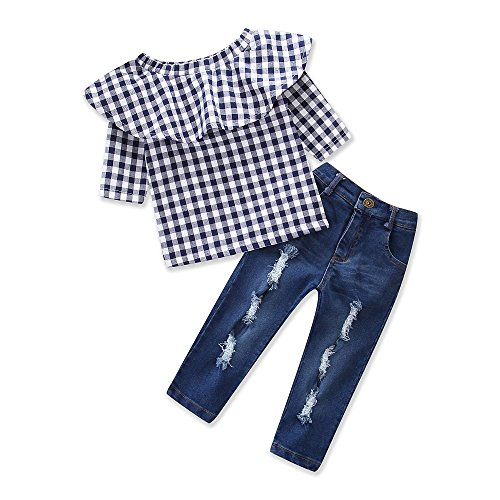 Samgami Baby Baby Girls Grid Printed Lattice Tops Jeans Daily Toddler Summer Clothing Set (Tag90/1-2Y, Blue)
