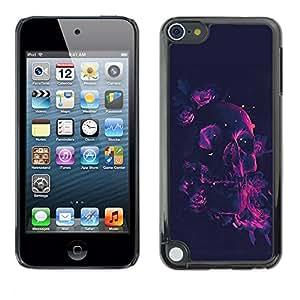 TECHCASE**Cubierta de la caja de protección la piel dura para el ** Apple iPod Touch 5 ** Neon Rose Pink Skull