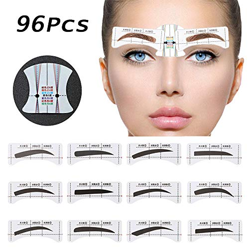 96Pcs Eyebrow Stencil Shaper, EBANKU 48 Pairs Eyebrows Shape Stickers Shaping Template Eyebrows Grooming Stencil Kit with 6 Reusable Connection Card DIY Makeup Guide Template Tools