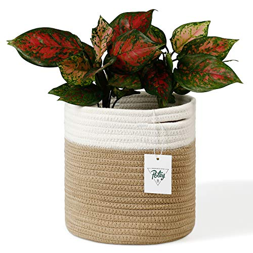 POTEY 700801 Cotton Rope Woven Plant Basket Modern Woven Basket for 7″ Flower Pot Floor Indoor Planters,Storage Organizer Basket Rustic Home Decor, White Brown Stripes 8″x 7.5″