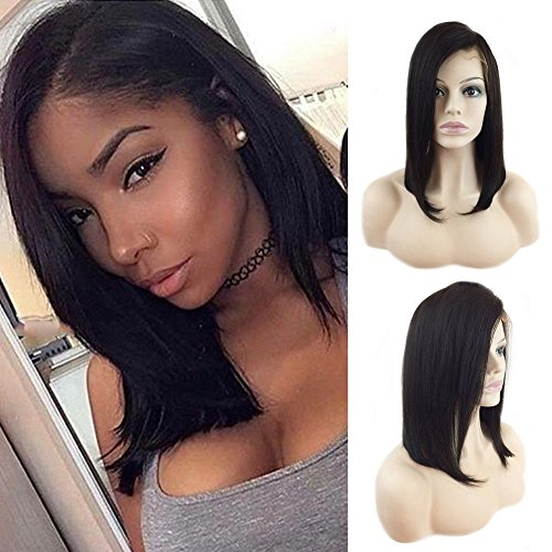 - Bob Human Hair Lace Front Wigs Straight Short Lace Frontal Wigs with Bangs Side Part Off Black Glueless Shoulder Length Human Hair Wig 12'' 1B Natural Black