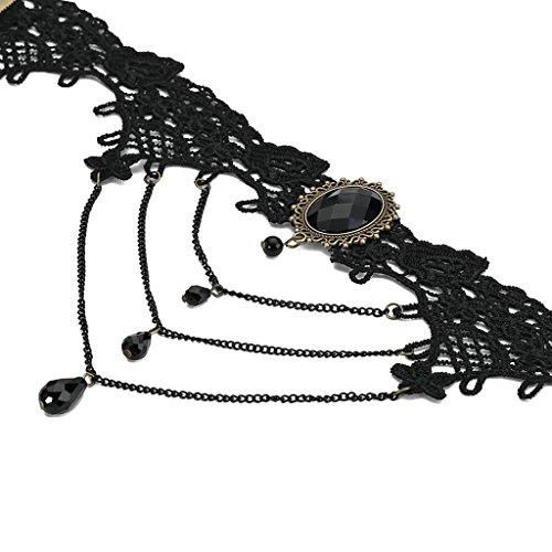 Gnzoe Femme Choker Tour de cou Adjutable, Collar Rétro Tassel Choker Pour Filles Or Noir, 33.5CM